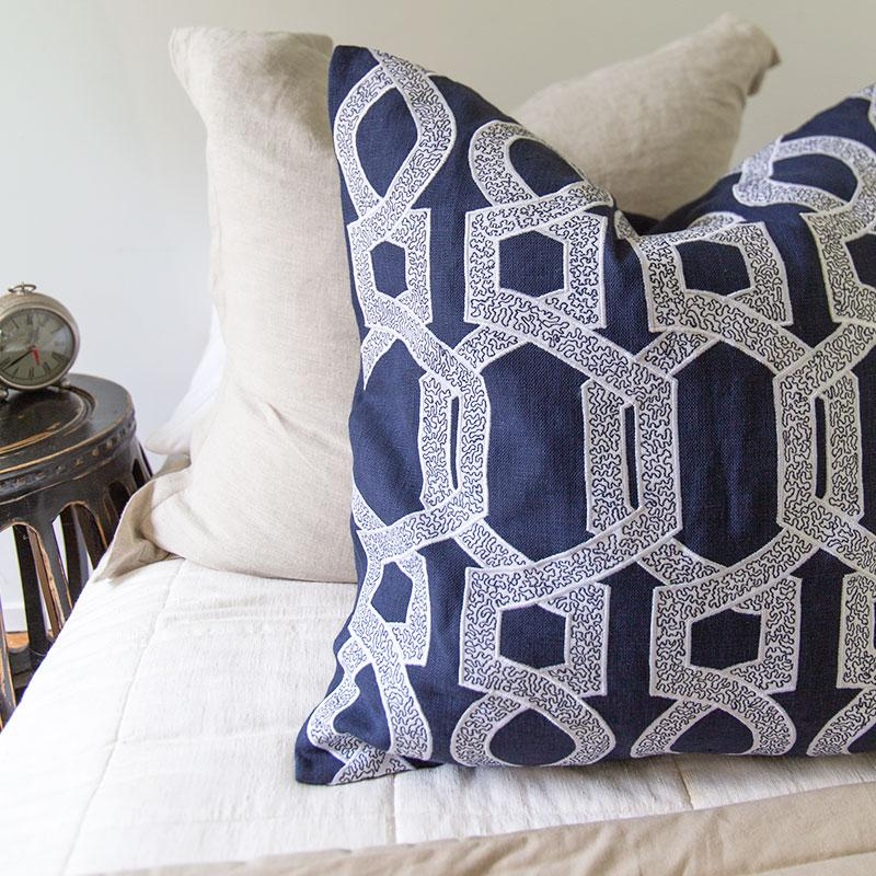 Bandhini Homewear Design Lounge Cushion Navy / 22 x 22 Inches Inter Hexagon Scroll Navy Lounge Cushion 55 x 55cm