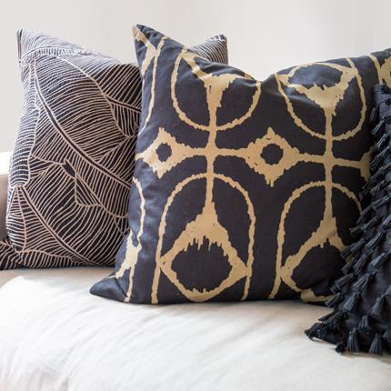 Bandhini Homewear Design Lounge Cushion Navy / 22 x 22 Inner Ikat Diamond Black Lounge Cushion 55 x 55 cm