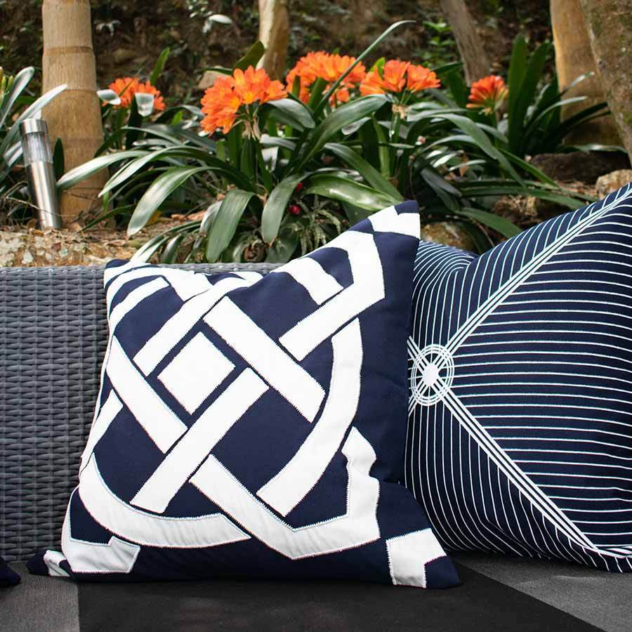 Bandhini Homewear Design Lounge Cushion Navy / 22 x 22 Outdoor Compass Navy Lounge Cushion 55 x 55 cm