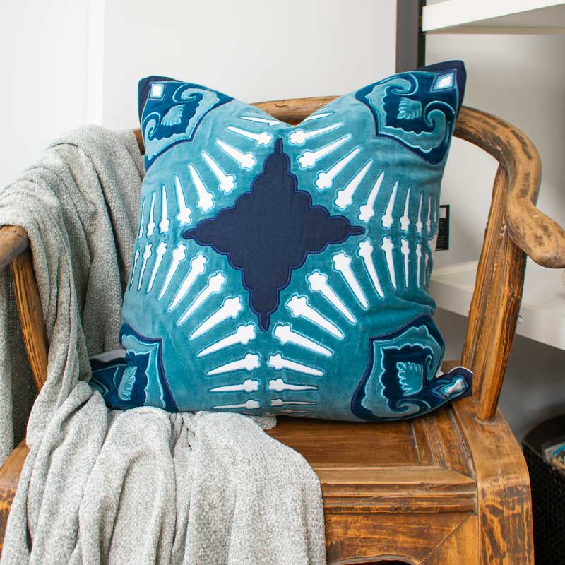 Bandhini Homewear Design Lounge Cushion Navy / 22 x 22 Roman Applique Velvet Navy Lounge Cushion