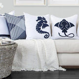 Bandhini Homewear Design Lounge Cushion Navy / 22 x 22 Sea Horse Navy Lounge Cushion 55 x 55 cm