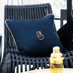 Bandhini Homewear Design Lounge Cushion Navy / 55 x 55cm Creature Metal Lion Head Silver Navy Lounge Cushion 55x55cm
