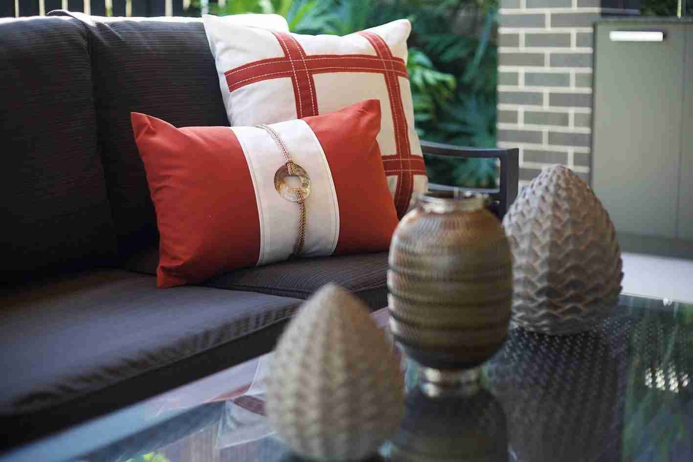 Bandhini Homewear Design Lounge Cushion Rust / 22 x 22 Outdoor Grid Rust Lounge Cushion 55 x 55 cm