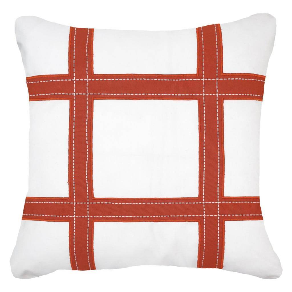 Bandhini Homewear Design Lounge Cushion Rust / Outdoor / 22 x 22 Outdoor Grid Rust Lounge Cushion 55 x 55 cm