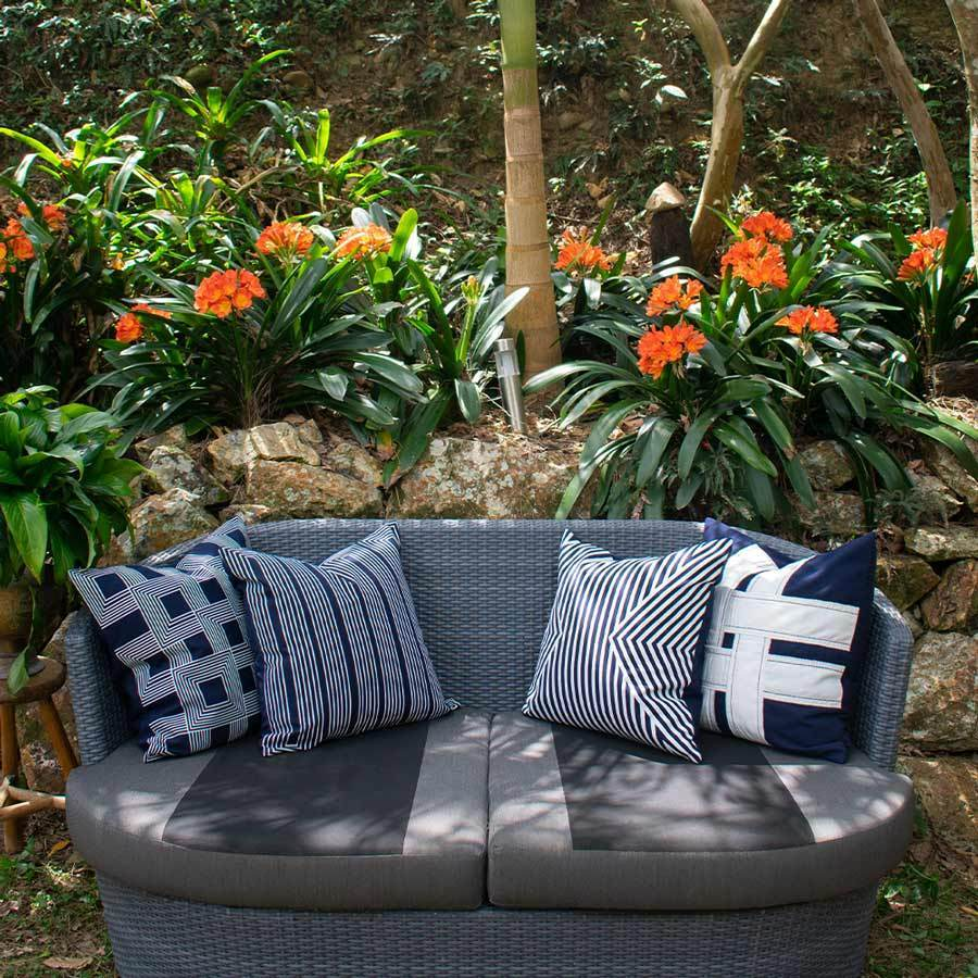 Bandhini Homewear Design Lounge Cushion Storm / 22 x 22 Outdoor Cross Sash Navy Lounge Cushion 55 x 55 cm