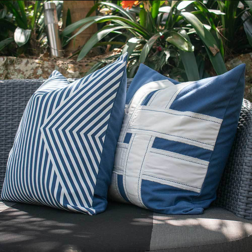 Bandhini Homewear Design Lounge Cushion Storm / 22 x 22 Outdoor Cross Sash Storm Lounge Cushion 55 x 55 cm