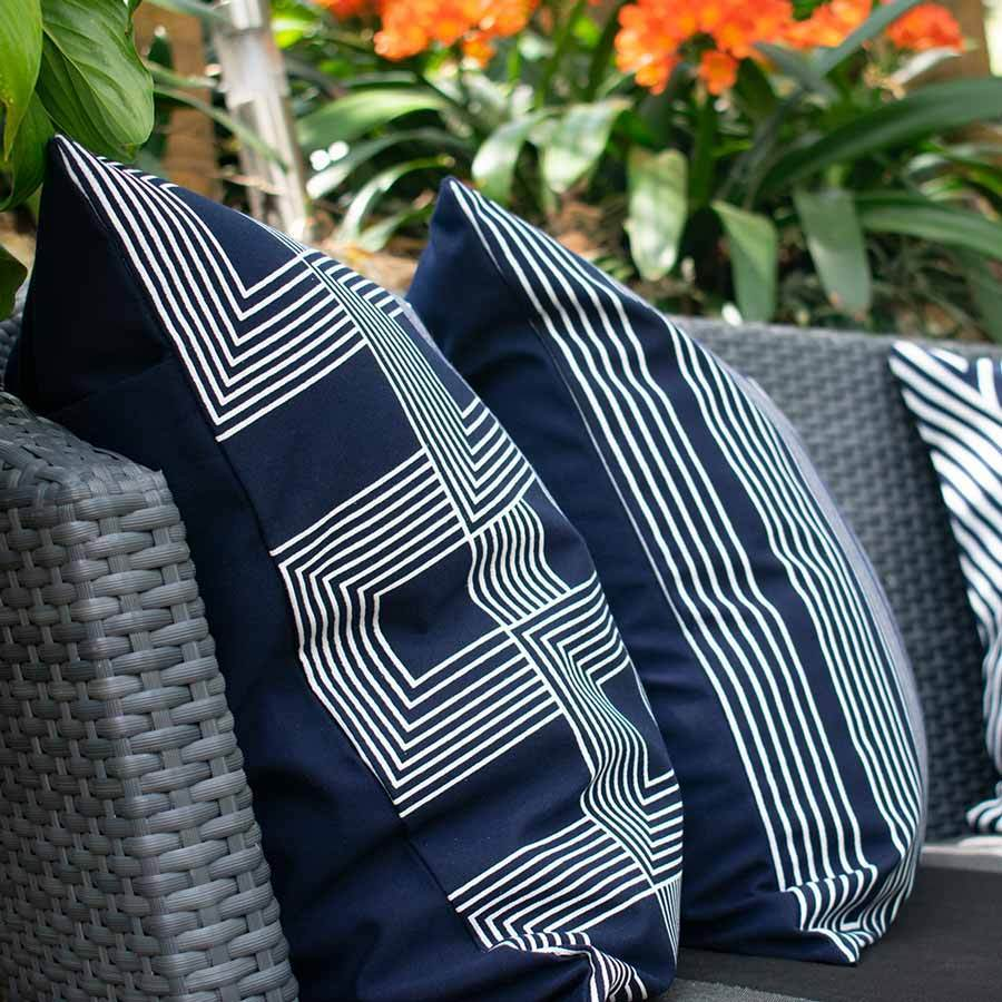 Bandhini Homewear Design Lounge Cushion Storm / 22 x 22 Outdoor Paramaze Navy Lounge Cushion 55 x 55 cm