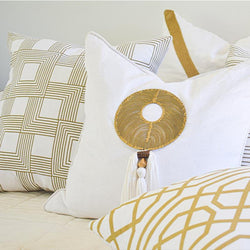 Bandhini Homewear Design Lounge Cushion Tassel Disc Gold On White 55 x 55 cm