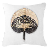 Bandhini Homewear Design Lounge Cushion White / Surf / 22 x 22 Fan Black on White Lounge Cushion 55 x 55 cm