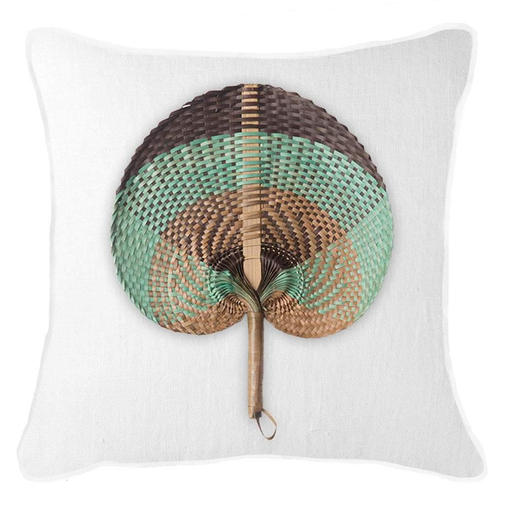 Bandhini Homewear Design Lounge Cushion White / Naval Sea / 22 x 22 Fan Sage on White Lounge Cushion 55 x 55 cm
