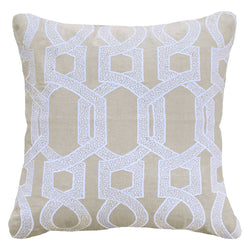 Bandhini Homewear Design Lounge Cushion White / 22 x 22 Hexagon Scroll White Lounge Cushion 55 x 55cm