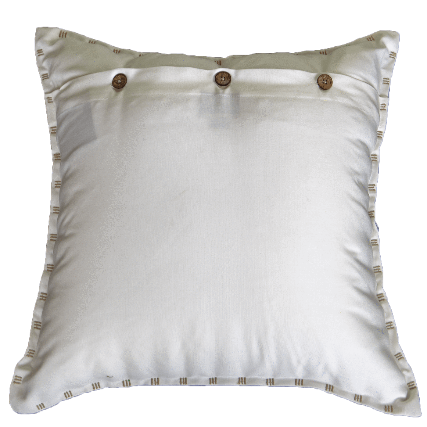 Bandhini Homewear Design Lounge Cushion White / 22 x 22 Outdoor Cotton Reverse White Beige Lounge Cushion 55 x 55 cm