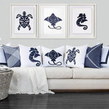Bandhini Homewear Design Lounge Cushion White / 22 x 22 Sea Turtle White Lounge Cushion 55 x 55 cm