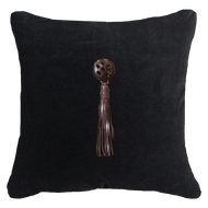 Bandhini Homewear Design Lounge Cushion White / Primitive / 22 x 22 Tassel Leather Brown on Black 55 x 55 cm
