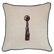 Bandhini Homewear Design Lounge Cushion White / Primitive / 22 x 22 Tassel Leather Brown on Natural 55 x 55 cm