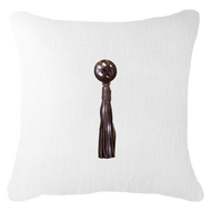 Bandhini Homewear Design Lounge Cushion White / Primitive / 22 x 22 Tassel Leather Brown on White 55 x 55 cm