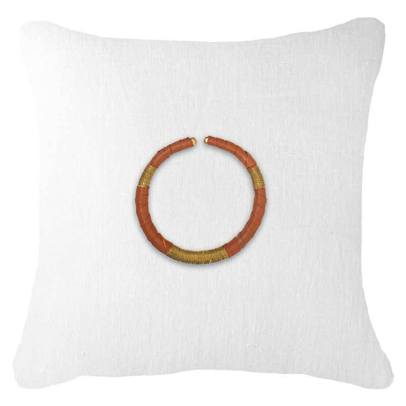 Bandhini Homewear Design Lounge Cushion White / 22 x 22in Amulet Leather Tan on White Lounge Cushion 55x55cm