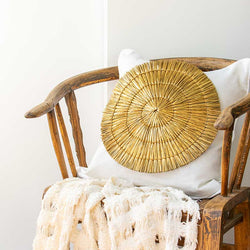Bandhini Homewear Design Lounge Cushion White / 22 x 22in Grass Mat Gold on White Lounge Cushion 55x55cm