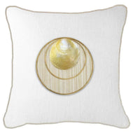 Bandhini Homewear Design Lounge Cushion White / 22 x 22inches Shell Disc Gold White Lounge Cushion 55 x 55cm