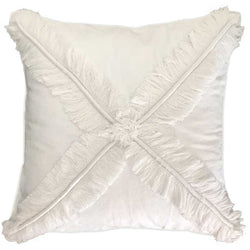 Bandhini Homewear Design Lounge Cushion White / 55 x 55 cm Fringe Cross White Lounge Cushion 55 x 55 cm