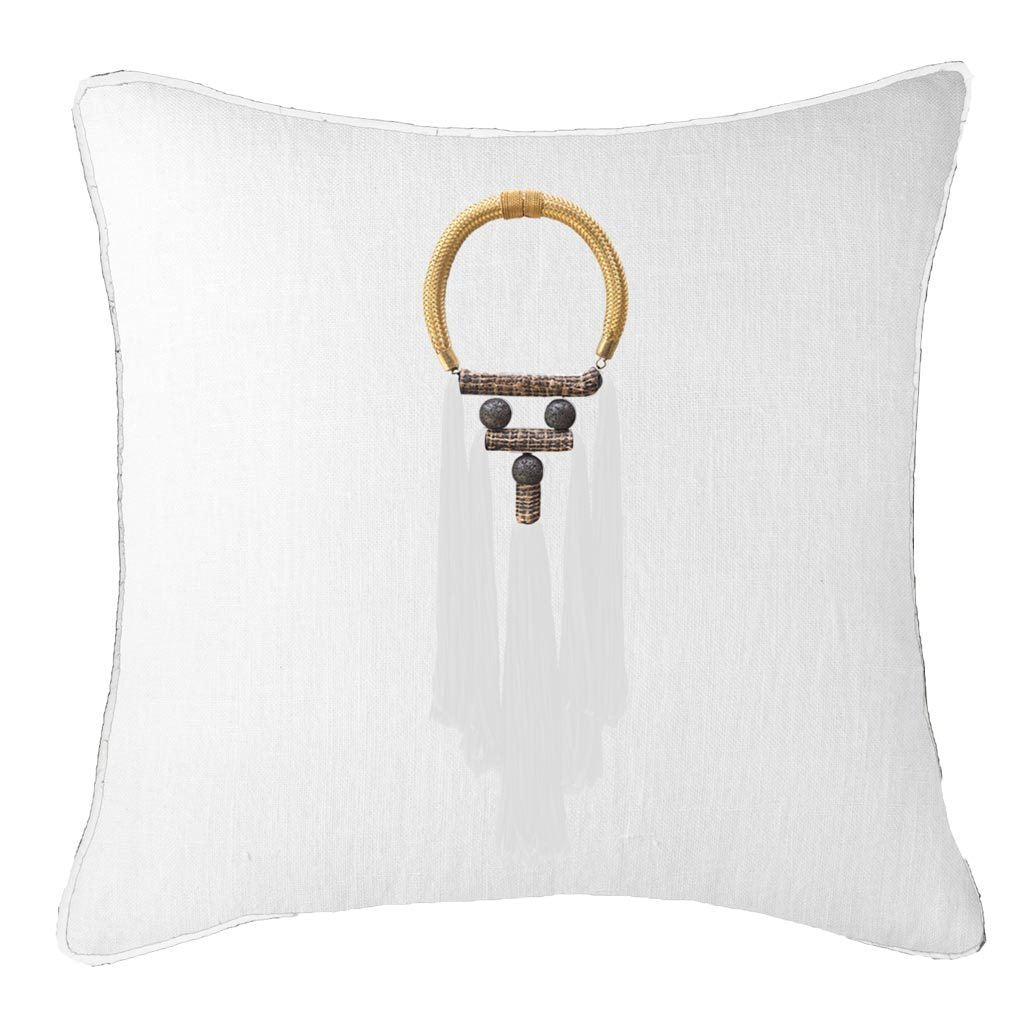 Bandhini Homewear Design Lounge Cushion White / Primitive / 55 x 55 Tassel Spanish White On White Lounge Cushion 55 x 55cm