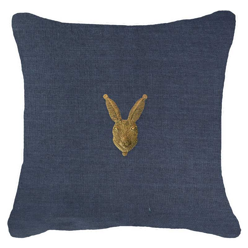 Bandhini Homewear Design Lounge Cushion White / 55 x 55cm Creature Metal Rabbit Head Navy Lounge Cushion 55x55cm