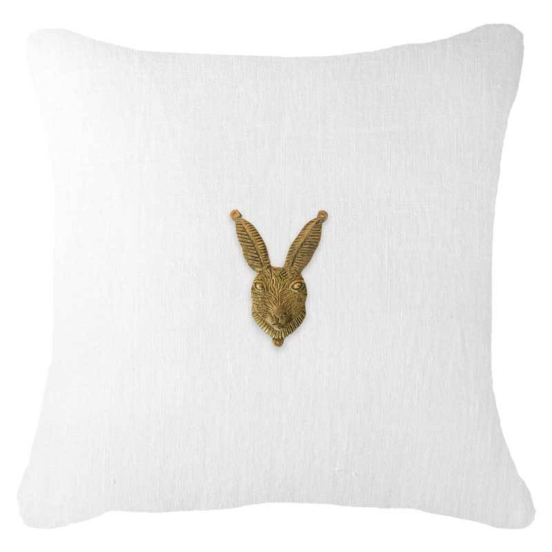 Bandhini Homewear Design Lounge Cushion White / 55 x 55cm Metal Rabbit Head White Lounge Cushion 55x55cm