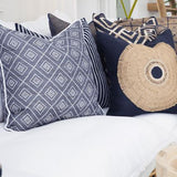 Bandhini Homewear Design Lounge Cushion Wind / 22 x 22 Weave Cross Navy Lounge Cushion 55x55cm