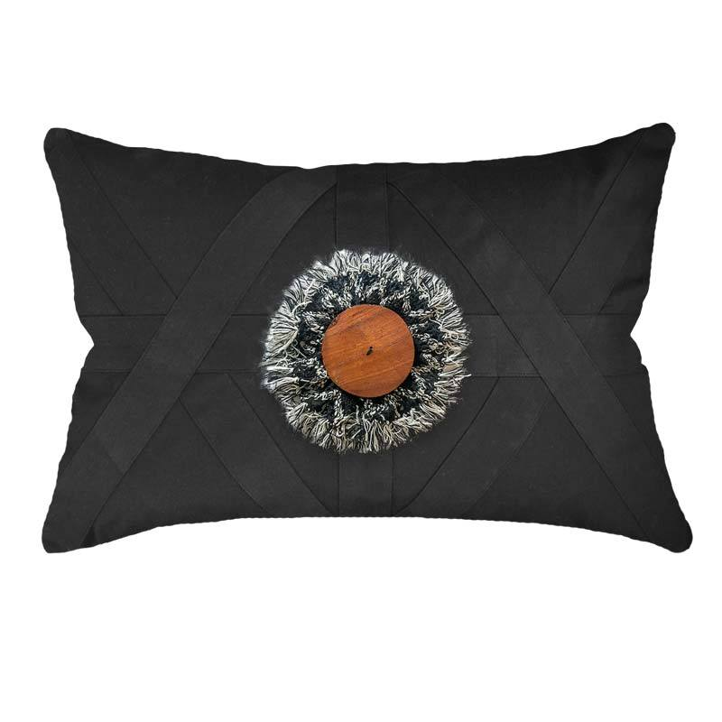 Bandhini Homewear Design Lumber Cushion Black / 14 x 21 inches Check Wood Disc Black Lumber Cushion 35 x 53 cm