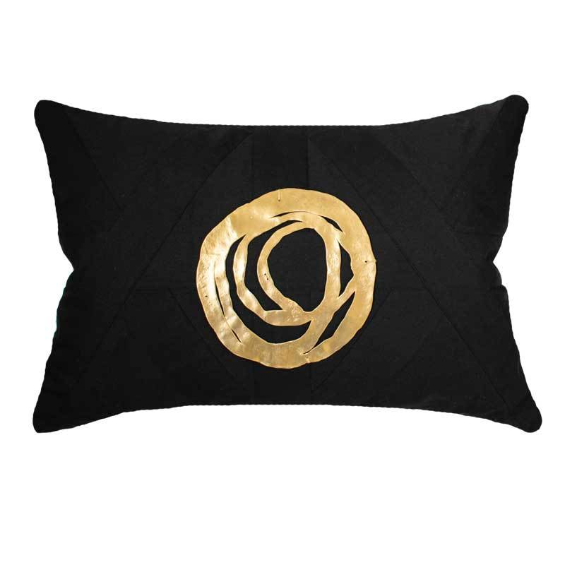 Bandhini Homewear Design Lumber Cushion Black / 14 x 21 inches Disc Orbit Gold Black Lumber Cushion 35 x 53 cm