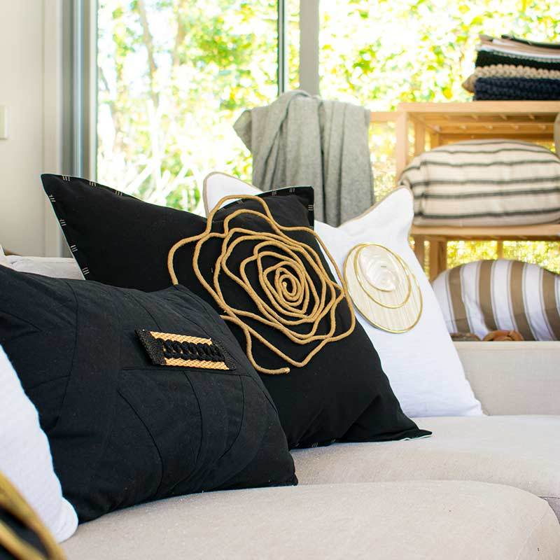 Bandhini Homewear Design Lumber Cushion Black / 14 x 21 inches Raffia Braid Strip Black Lumber Cushion 35 x 53 cm