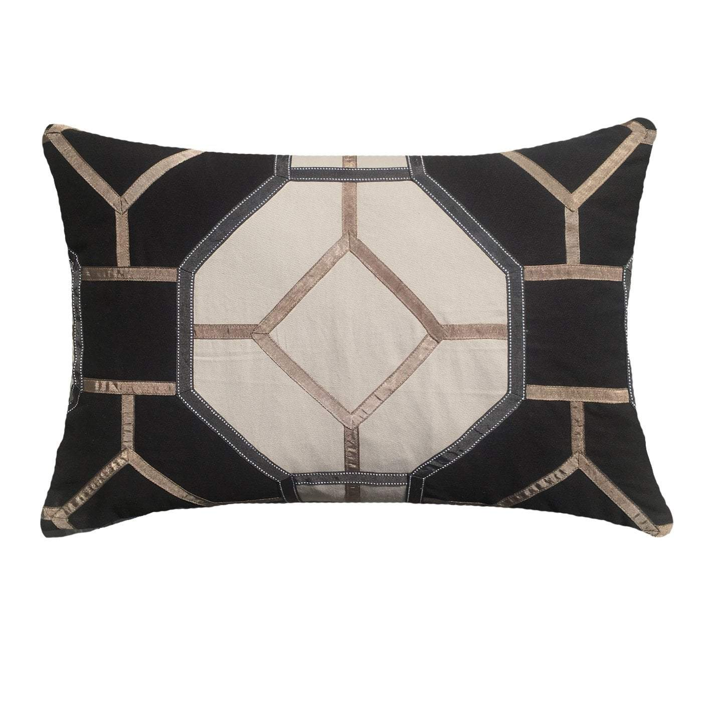 Bandhini Homewear Design Lumber Cushion Black / 14 x 21 Lantern Pagoda Black Lumber Cushion 30 x 53 cm