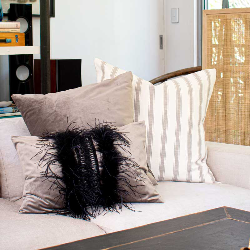 Bandhini Homewear Design Lumber Cushion Black / 14 x 21 Mink & Feathers Velvet Lumber Cushion 36 x 53cm