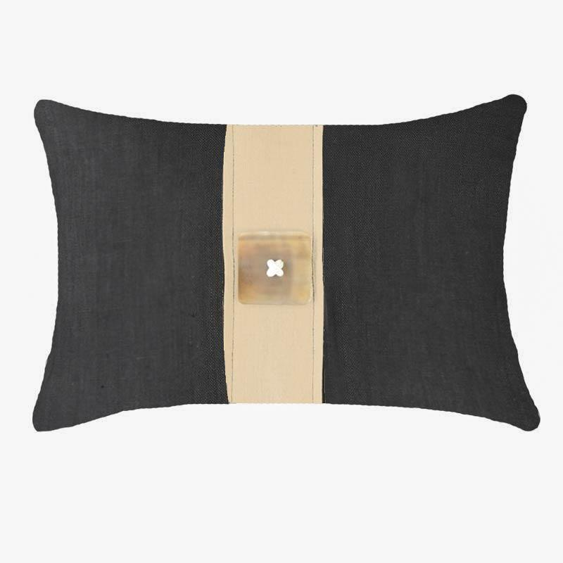 Bandhini Homewear Design Lumber Cushion Black / 14 x 21 Outdoor Horn Button Black Natural Lumber Cushion 35 x 53 cm