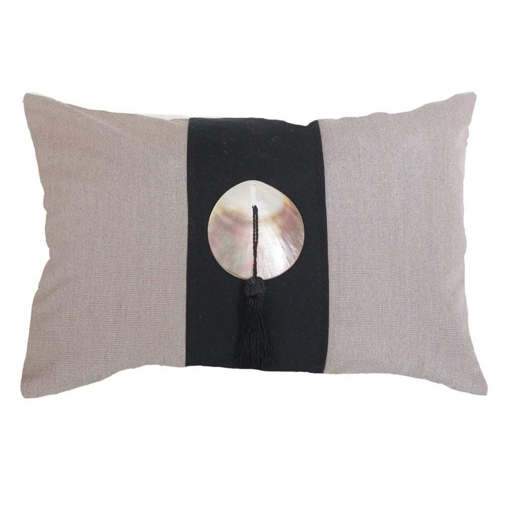 Bandhini Homewear Design Lumber Cushion Black / Outdoor / 14 x 21 Outdoor Tassel Black Lumber Cushion 35 x 53 cm