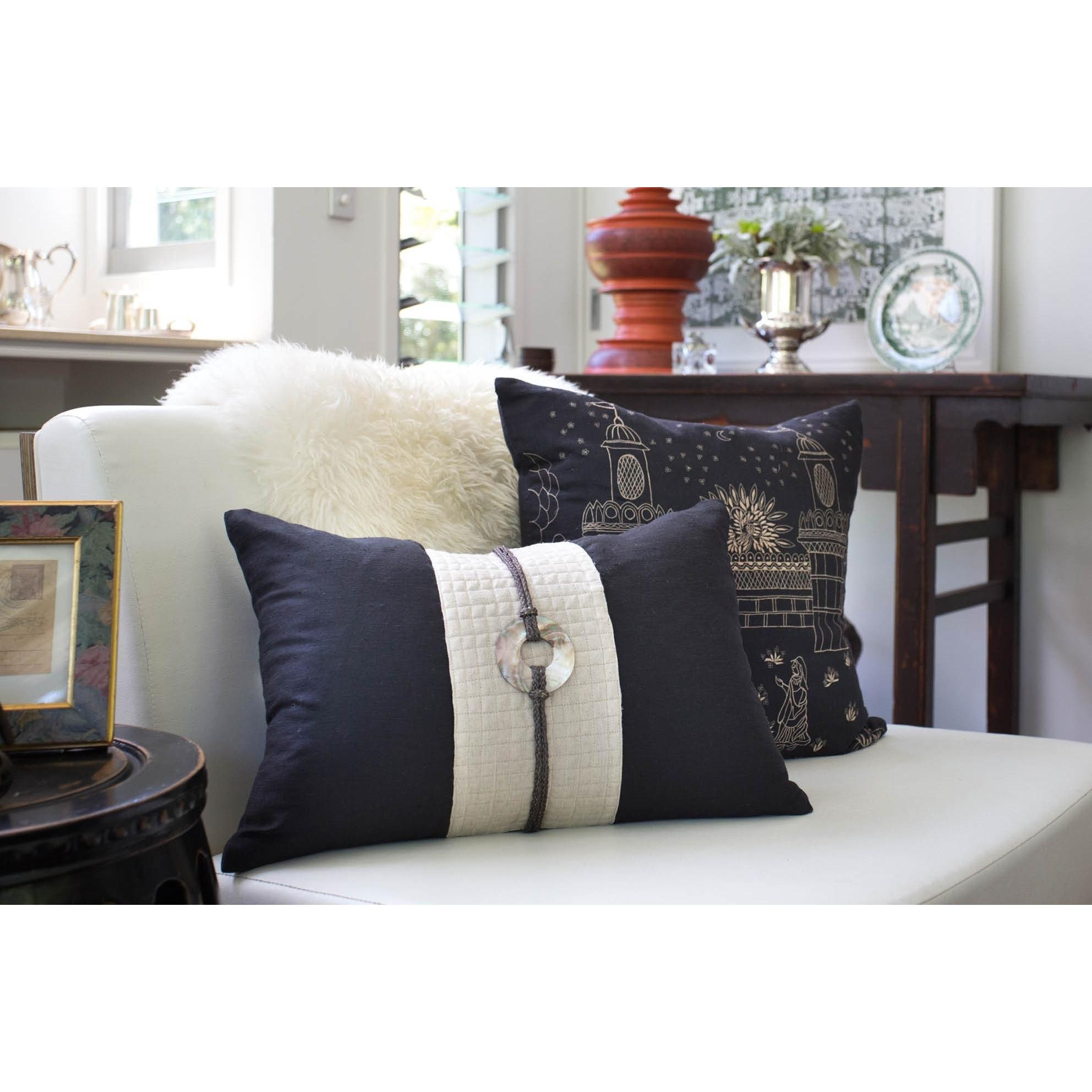 Bandhini Homewear Design Lumber Cushion Black / 14 x 21 Shell Sash Linen Black Lumber Cushion 35 x 53 cm