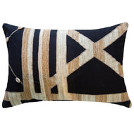 Bandhini Homewear Design Lumber Cushion Black / 14 x 21 Shoowa Kuba Shell Black Lumber Cushion