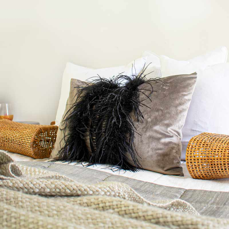 Bandhini Homewear Design Lumber Cushion Black & Mink / 14 x 21 Feather Boudoir Mink Velvet Lumber Cushion 36 x 53cm