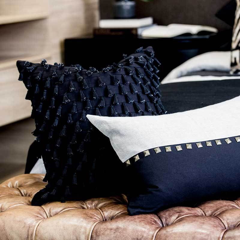 "Bandhini Homewear Design Lumber Cushion Natural / 14"" x 21"" Black Stud Lumber Cushion 35 x 53 cm"