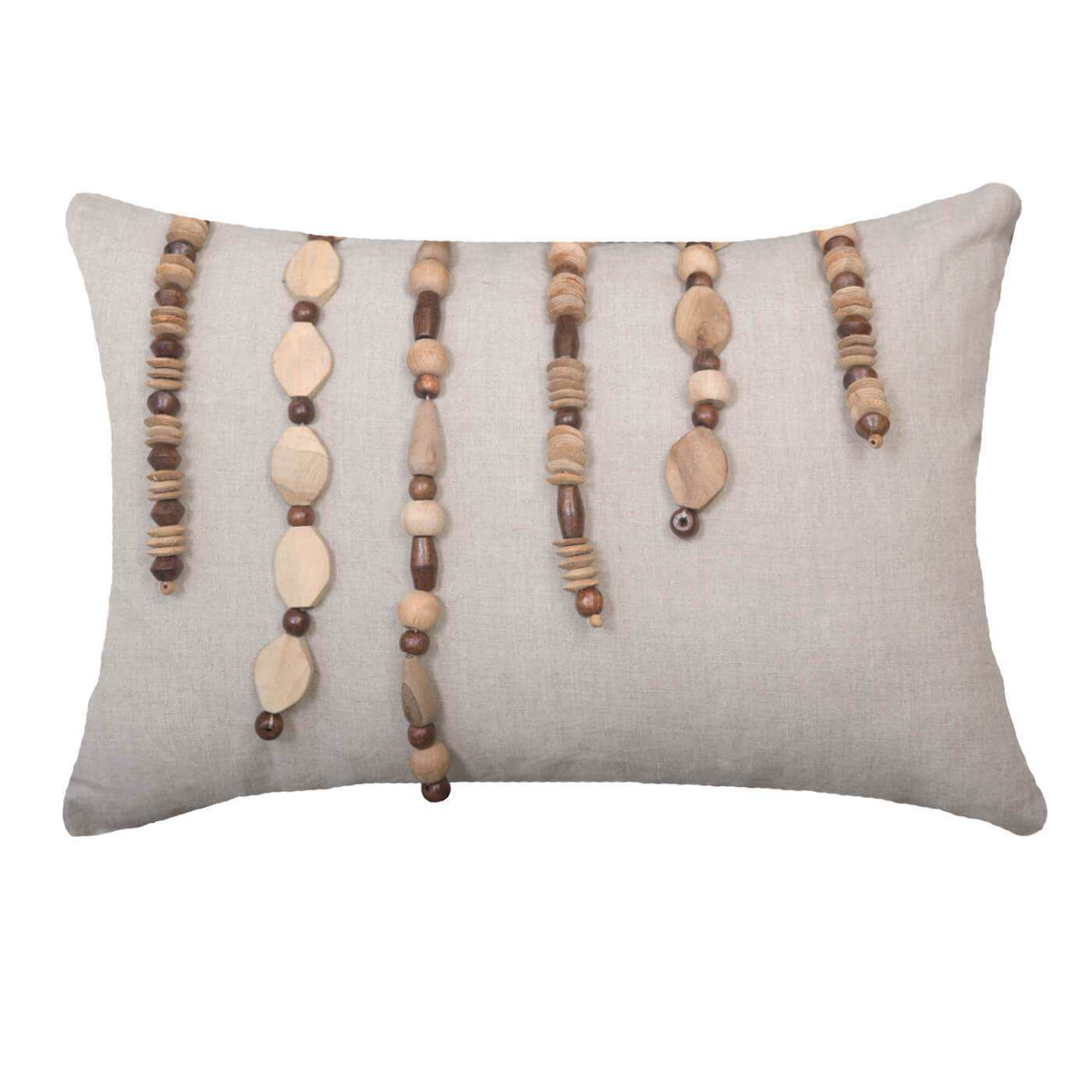 "Bandhini Homewear Design Lumber Cushion Natural / Surf / 14"" x 21"" Wood Necklace Lumber Cushion 35 x 53 cm"