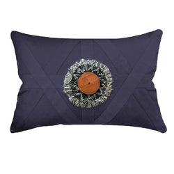 Bandhini Homewear Design Lumber Cushion Navy / 14 x 21 inches Check Wood Disc Navy Lumber Cushion 35 x 53 cm