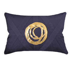 Bandhini Homewear Design Lumber Cushion Navy / 14 x 21 inches Disc Orbit Gold Navy Lumber Cushion 35 x 53 cm