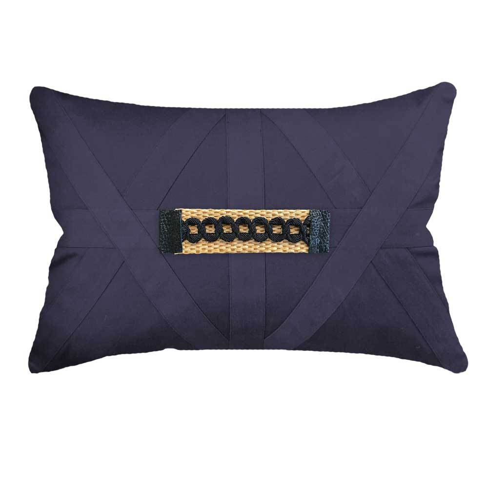 Bandhini Homewear Design Lumber Cushion Navy / 14 x 21 inches Raffia Braid Strip Navy Lumber Cushion 35 x 53 cm