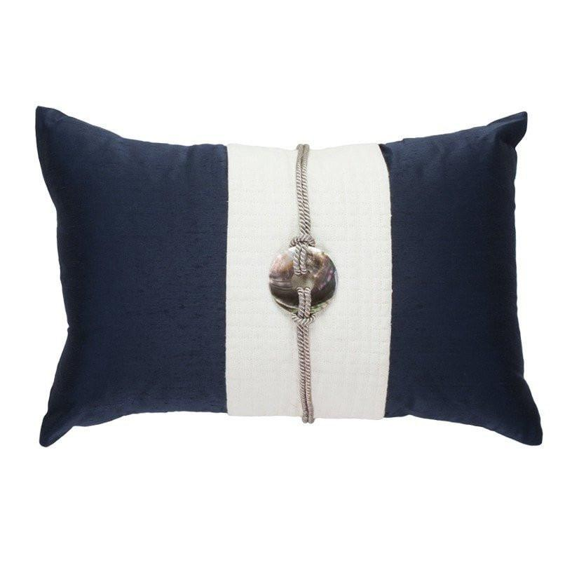 Bandhini Homewear Design Lumber Cushion Navy / 14 x 21 Shell Sash Linen Navy Lumber Cushion 35 x 53 cm