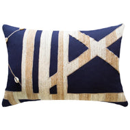 Bandhini Homewear Design Lumber Cushion Navy / 14 x 21 Shoowa Kuba Shell Navy Lumber Cushion