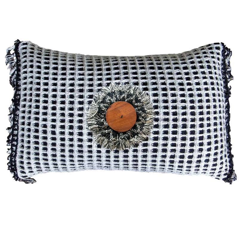 Bandhini Homewear Design Lumber Cushion White / 14 x 21 inches Check Wood Disc on Check Black & White Lumber Cushion 35 x 53 cm