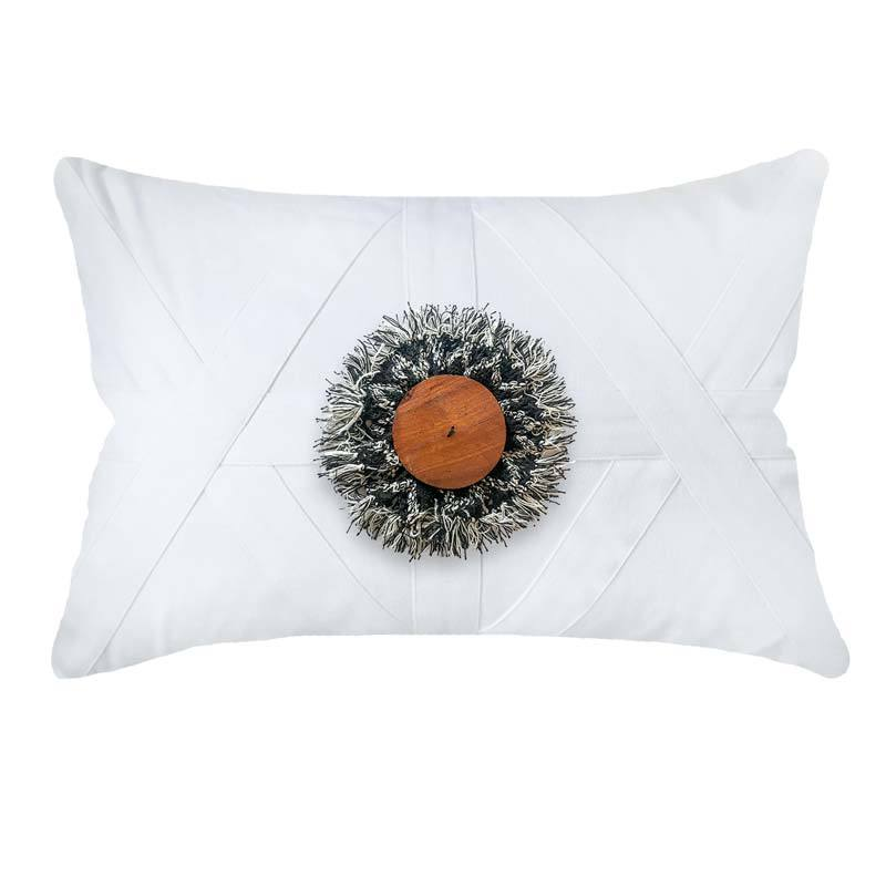 Bandhini Homewear Design Lumber Cushion White / 14 x 21 Check Wood Disc White Lumber Cushion 35 x 53 cm
