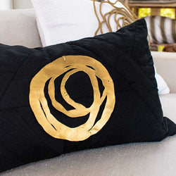 Bandhini Homewear Design Lumber Cushion White / 14 x 21 inches Disc Orbit Gold White Lumber Cushion 35 x 53 cm