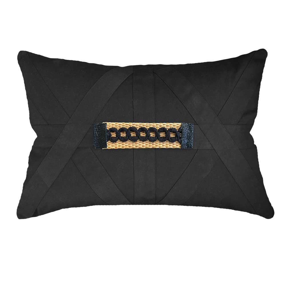 Bandhini Homewear Design Lumber Cushion White / 14 x 21 Raffia Braid Strip Black Lumber Cushion 35 x 53 cm