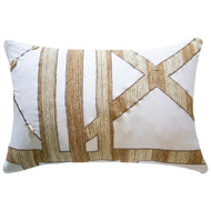 Bandhini Homewear Design Lumber Cushion White / 14 x 21 Shoowa Kuba Shell White Lumber Cushion